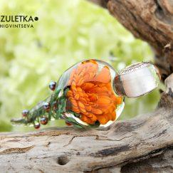 Orange glass flower